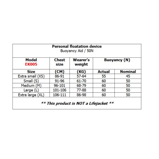 Prolimit Floating Vest Freeride side zip chart